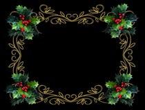 Frontera del acebo de la Navidad en negro Imagen de archivo