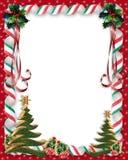 Frontera del caramelo y del acebo de la Navidad Imagenes de archivo