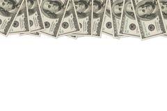 Frontera del dinero de cientos cuentas de dólar Fotografía de archivo