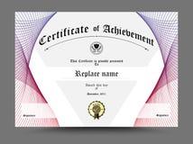 Frontera del diploma del certificado, plantilla del certificado Diseño en pizca Imagen de archivo libre de regalías