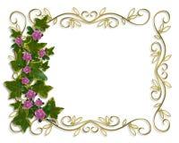 Frontera del diseño floral de la hiedra con el marco del oro Imagen de archivo