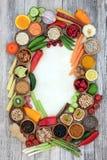 Frontera del fondo de la comida sana imagen de archivo