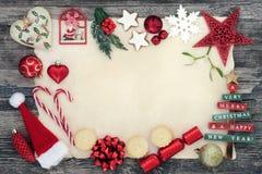 Frontera del fondo de la Navidad Imagenes de archivo