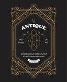 Frontera del marco de la antigüedad del diseño de la etiqueta del vintage que graba vector retro ilustración del vector