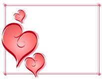 Frontera del marco de los corazones de la tarjeta del día de San Valentín de la caligrafía Imágenes de archivo libres de regalías
