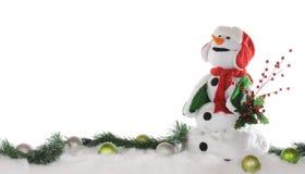 Frontera del muñeco de nieve de la Navidad Imágenes de archivo libres de regalías