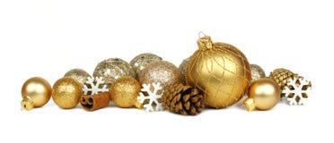 Frontera del ornamento de la Navidad del oro Imagenes de archivo