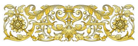 Frontera del ornamento del oro ilustración del vector