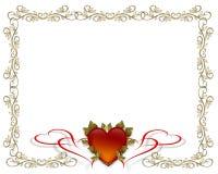 Frontera del oro del día de tarjetas del día de San Valentín Foto de archivo