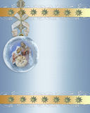 Frontera del oro del ornamento de la natividad de la Navidad Fotos de archivo libres de regalías