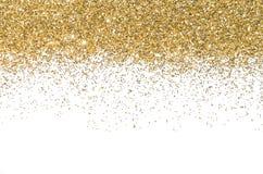 Frontera del oro Lentejuelas Brillo de oro polvo brillo Fondo brillante Imágenes de archivo libres de regalías