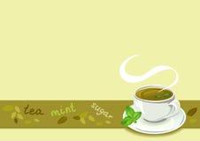 Frontera del té con la taza de té Foto de archivo libre de regalías