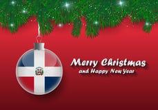 Frontera del vector de las ramas y de la bola de árbol de navidad con dominicano libre illustration