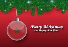 Frontera del vector de las ramas y de la bola de árbol de navidad con Marruecos f ilustración del vector