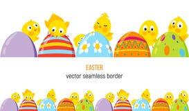 Frontera del vector de Pascua con los polluelos y los huevos lindos Fotos de archivo