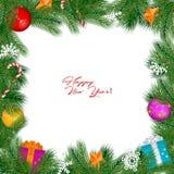 Frontera del vintage de la Navidad del vector aislada en el fondo blanco stock de ilustración