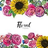 Frontera dibujada mano de la flor Fotos de archivo