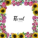 Frontera dibujada mano de la flor Foto de archivo