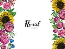 Frontera dibujada mano de la flor imágenes de archivo libres de regalías