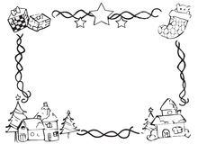 Frontera dibujada mano de la Navidad Imagenes de archivo