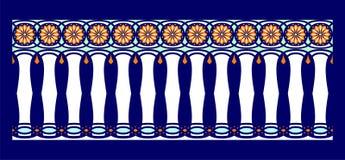 Frontera elegante, espectacular y decorativa de la inspiración hindú y árabe de diversos colores, blanco, azul claro y anaranjado ilustración del vector