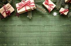 Frontera festiva rústica de la Navidad Fotos de archivo libres de regalías