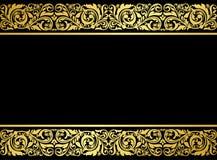 Frontera floral con los elementos dorados Imagenes de archivo