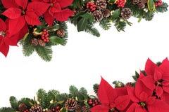 Frontera floral de la Navidad Foto de archivo