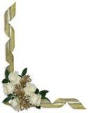 Frontera floral de las rosas de las cintas blancas del oro Fotos de archivo libres de regalías