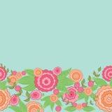 Frontera floral dibujada mano linda Foto de archivo