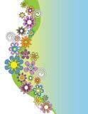 Frontera floral dibujada mano retra Imagen de archivo