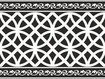 Frontera floral gótica blanco y negro inconsútil Foto de archivo libre de regalías