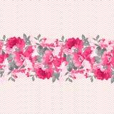 Frontera floral inconsútil con las rosas rosadas Imagen de archivo libre de regalías