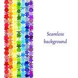 Frontera floral inconsútil del arco iris del mosaico Imagen de archivo libre de regalías