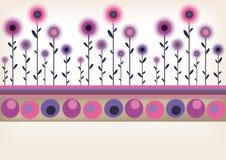 Frontera floral retra Fotografía de archivo libre de regalías