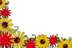 Frontera floral roja y amarilla Foto de archivo libre de regalías