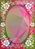 Frontera floral rosada verde ilustración del vector
