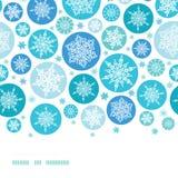 Frontera horizontal de los copos de nieve redondos inconsútil Imagen de archivo libre de regalías
