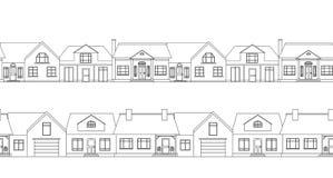 Frontera inconsútil con las casas de campo del contorno ilustración del vector