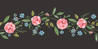 Frontera inconsútil con las rosas de la acuarela, las hojas, las ramas y las pequeñas flores azules ilustración del vector