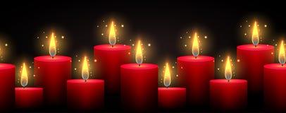 Frontera inconsútil con las velas luminosas en un fondo oscuro stock de ilustración