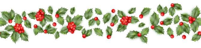 Frontera inconsútil de la baya del acebo de la Navidad Vector del EPS 10 stock de ilustración
