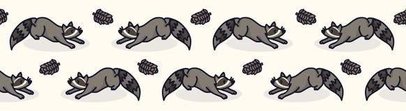 Frontera inconsútil de la historieta linda del mapache Teja urbana exhausta de la fauna de la mano stock de ilustración