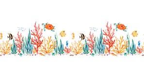 Frontera inconsútil de la repetición de la criatura oceánica con la tortuga linda libre illustration