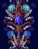 Frontera inconsútil de la simetría con las flores tropicales en color azul Ilustración del vector ilustración del vector