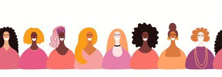 Frontera inconsútil de las mujeres diversas stock de ilustración