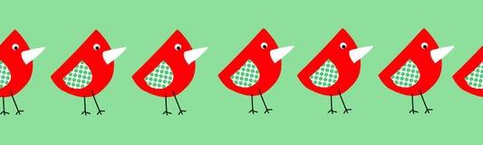 Frontera inconsútil de los pájaros lindos para los niños Elementos de repetición infantiles del estilo del collage para los niños ilustración del vector
