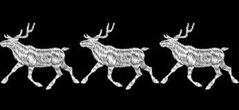 Frontera inconsútil del bordado de la entrega del regalo del trineo de la Navidad del reno Decoración negra blanca monocromática  Foto de archivo libre de regalías