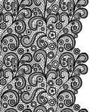 Frontera inconsútil del cordón Ajuste elegante del vintage de encaje negro Frontera inconsútil del cordón Tarjeta _1 de la invita libre illustration