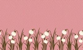 Frontera inconsútil del snowdrop en rosa polvoriento en el pequeño fondo poner crema ligero de los círculos para mujeres internac ilustración del vector